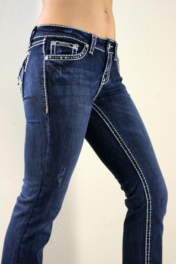 LA Idol Mystic Thick White Leather Stitched Dark Blue Boot Cut Jeans