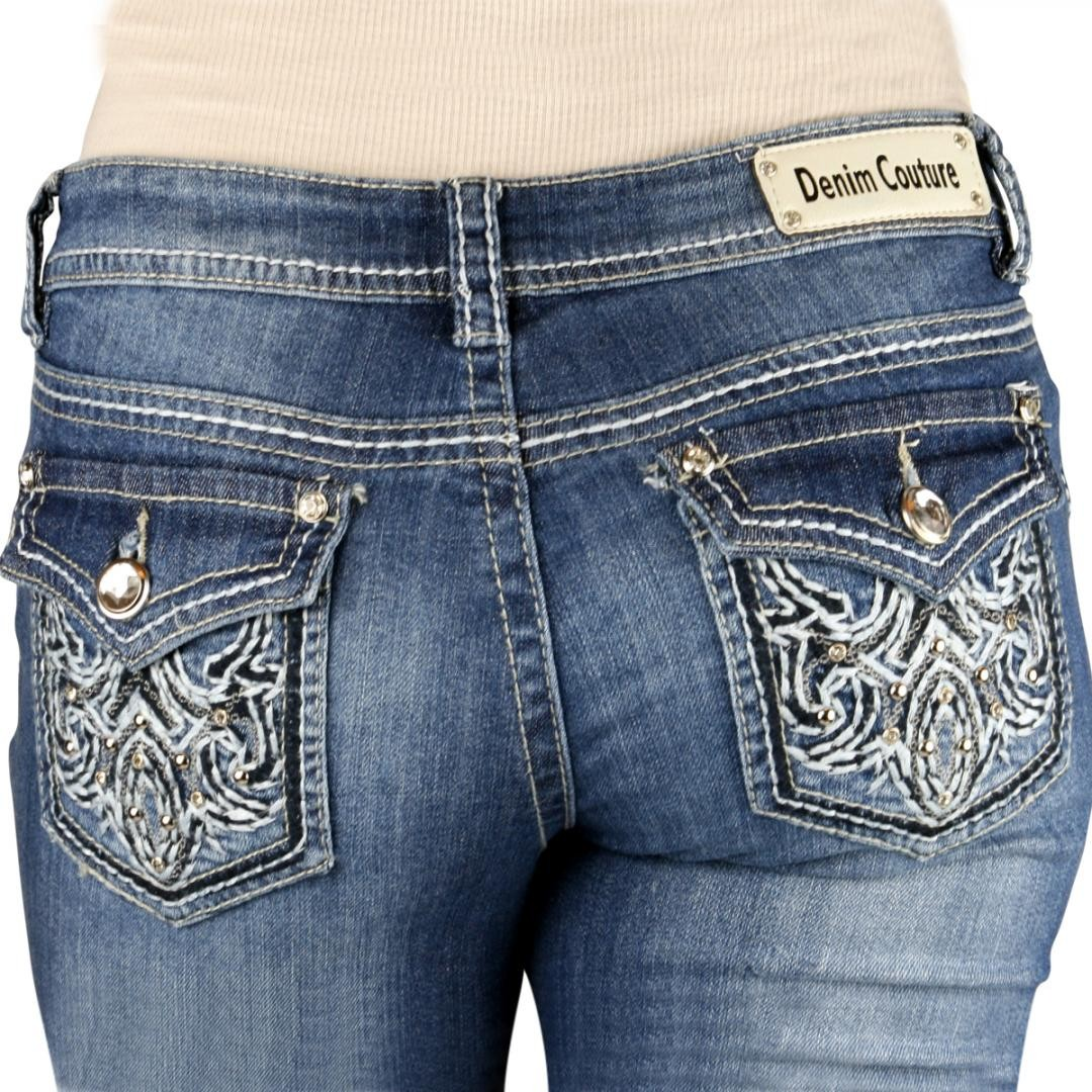 Denim couture thick stitch back pocket embroidery medium