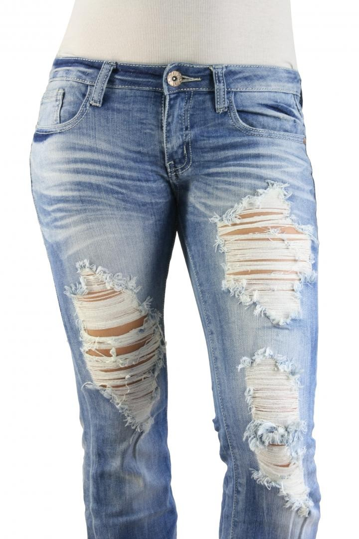 MACHINE JEANS Destroyed Distressed Ripped Light Wash Denim Jeans ...