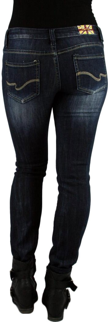 MACHINE JEANS Dark Wash Destroyed Distressed Ripped Skinny Denim Jeans