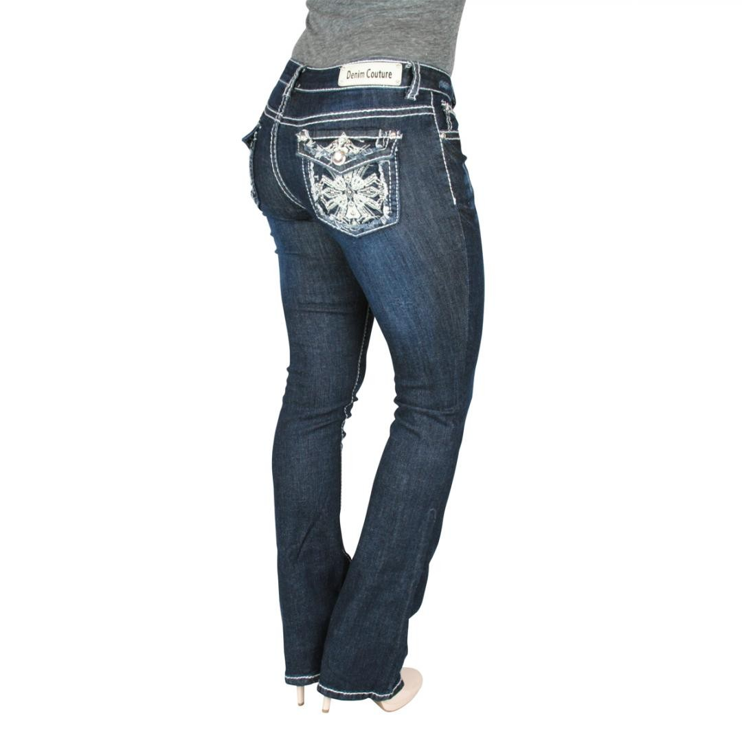 Denim Couture Exquisite Cross Dark Wash Blue Boot Cut Jeans