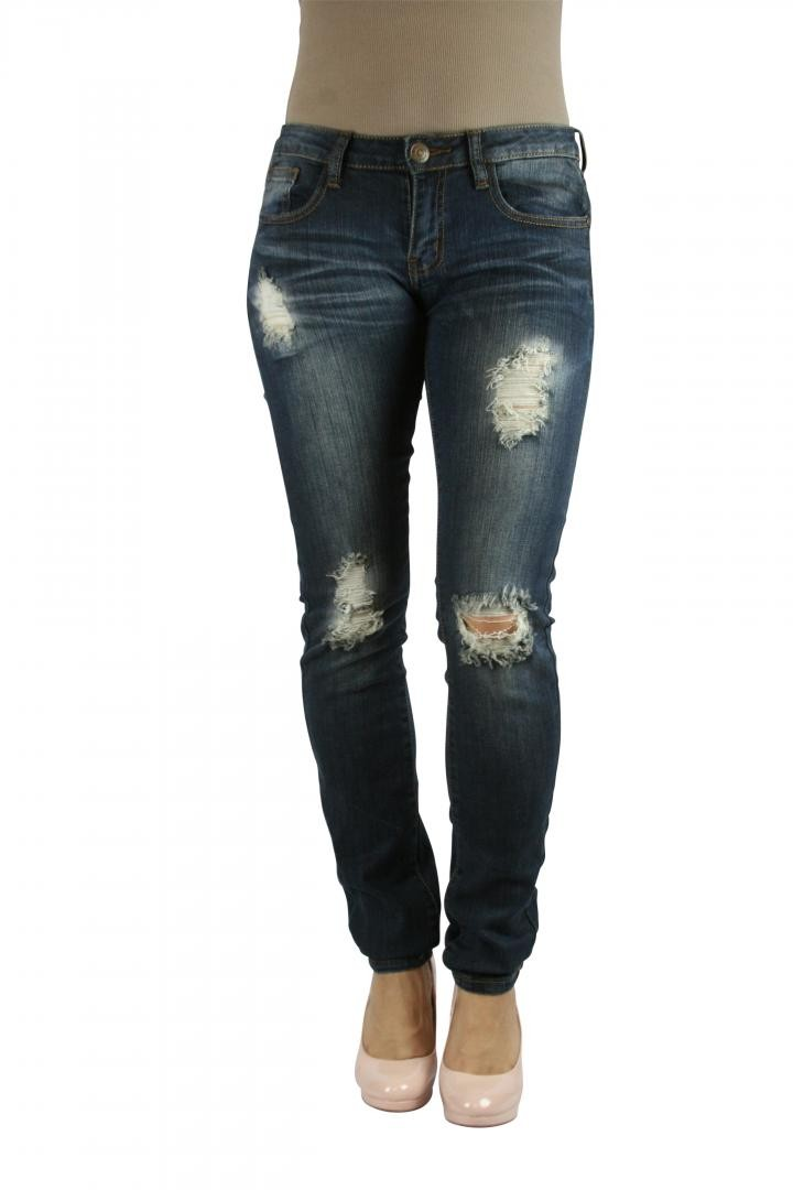 MACHINE JEANS Dark Wash Destroyed Distressed Ripped Denim Skinny ...