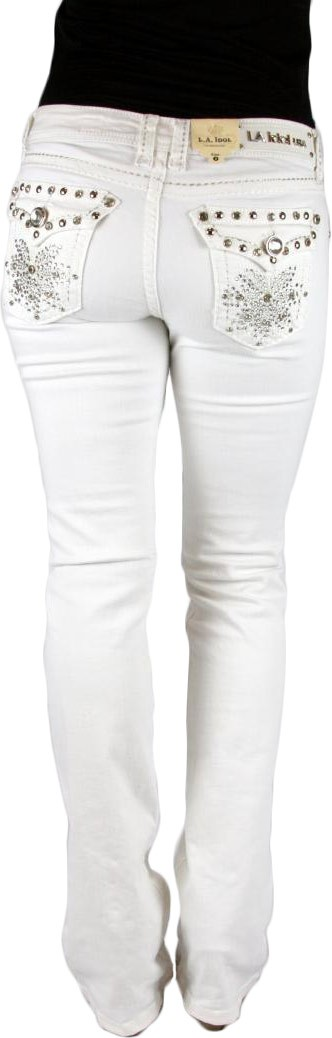 LA IDOL Sparking Star White Denim Boot Cut Jeans