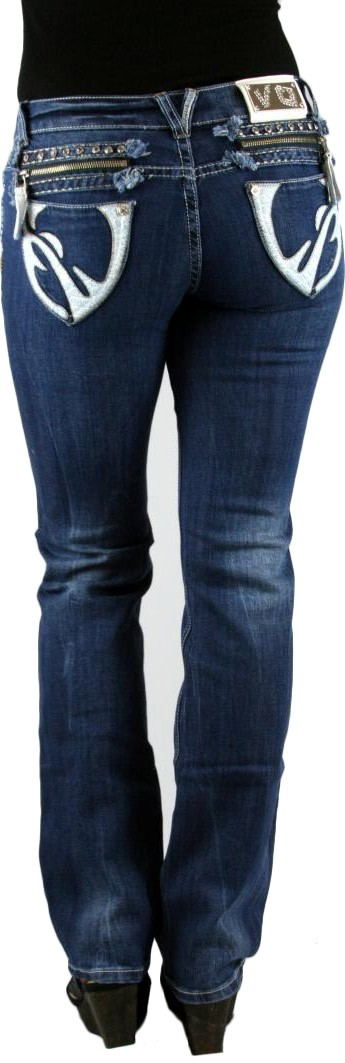 VO White Leather Mid Rise Dark Blue Denim Bootcut Jeans Virgin Only