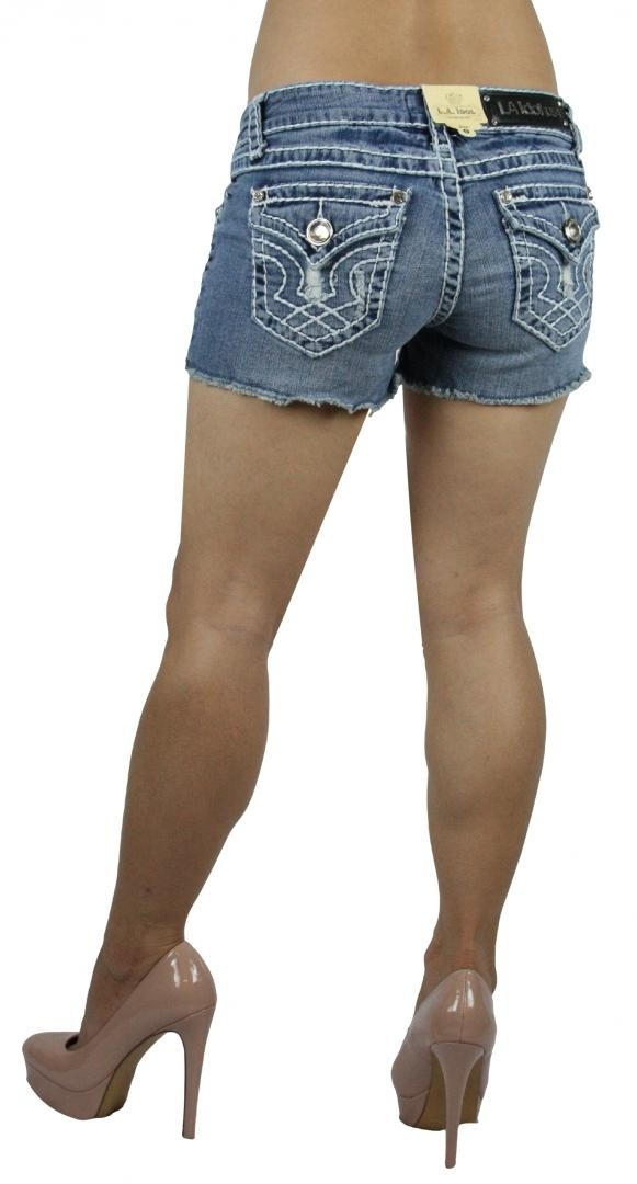 LA Idol Classic Light Blue Denim Ripped Distressed Cutoff Shorts S-L