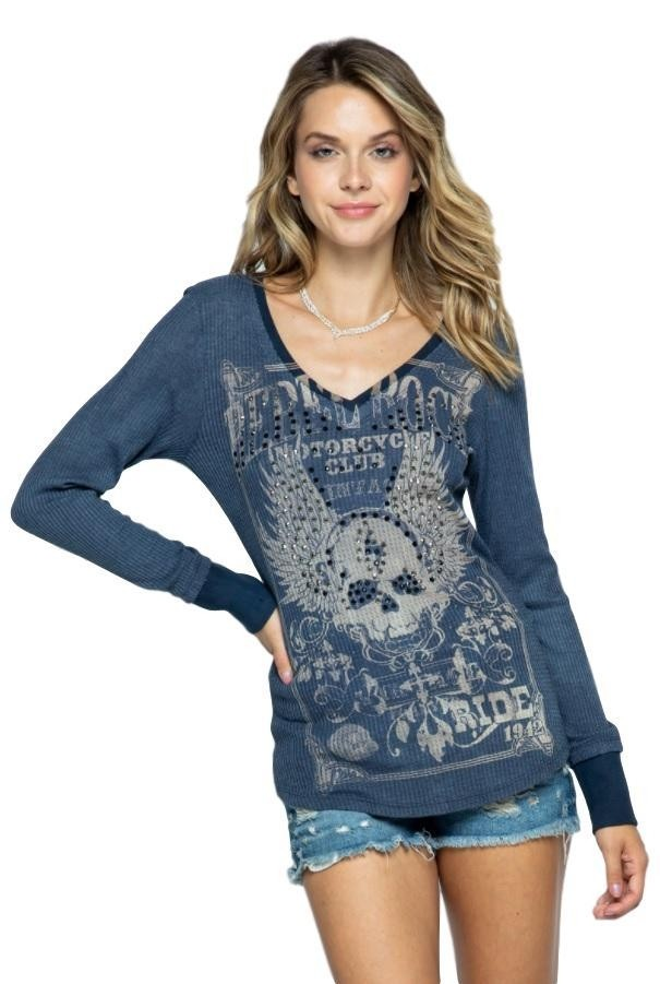 Vocal Women USA Rhinestones Skull with Wings Long Sleeve Top