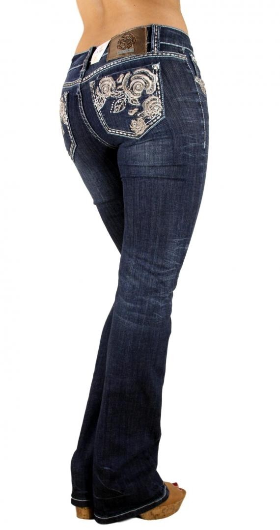 LA Idol Southern Rose Floral Embroidered Dark Blue Denim Rhinestone Boot Cut Jeans 0-15