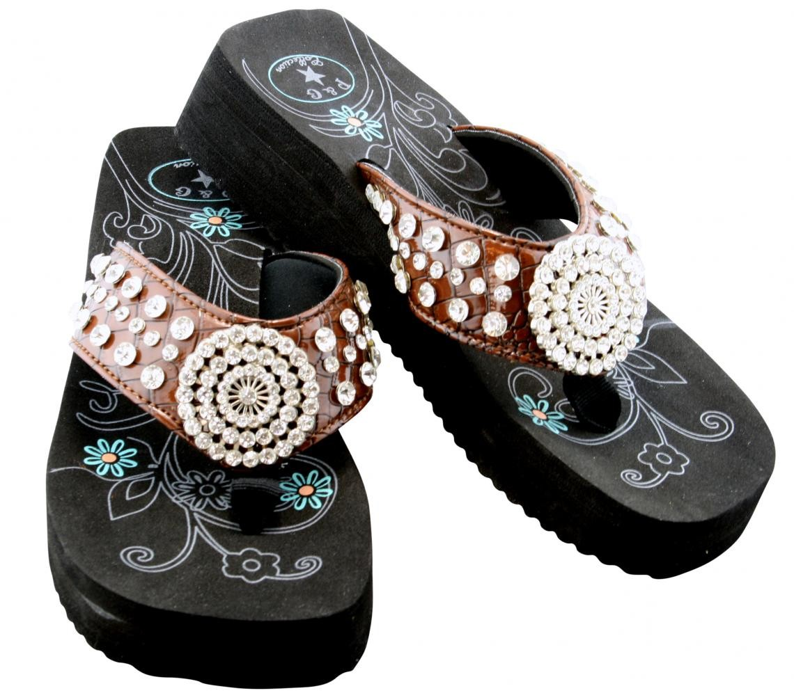 Women's Snake Embossed Crystal Rhinestone Flip Flop Sandals