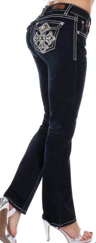Sexy Couture Women's 419-PB Cross Dark Wash Boot Cut Denim Jeans 3-17