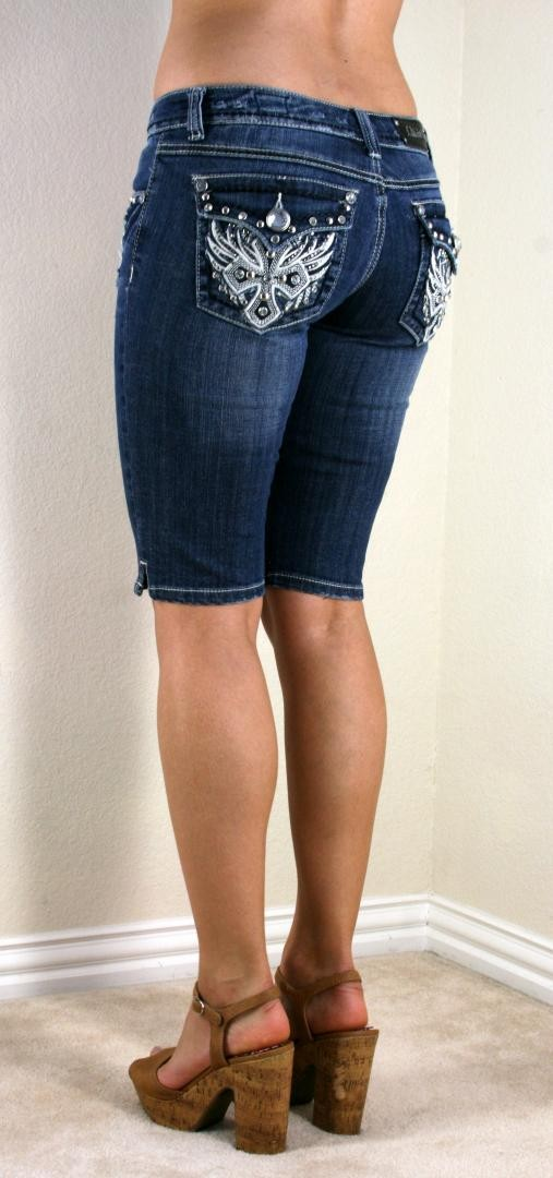 LA Idol Phoenix Studded Cross Destroyed Dark Blue Denim Bermuda Shorts