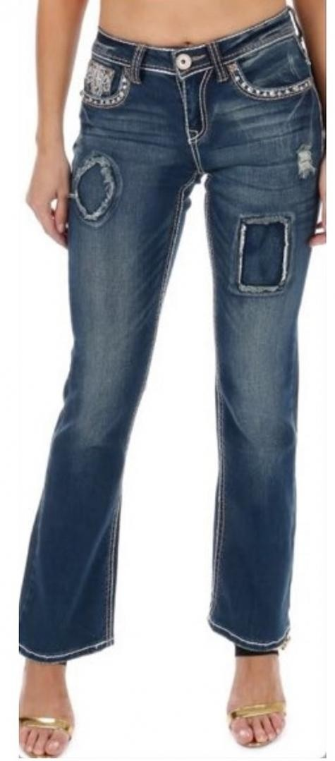 Sexy Couture Women's S447-PB Patchwork Wing Boot Cut Denim Jeans 3-17