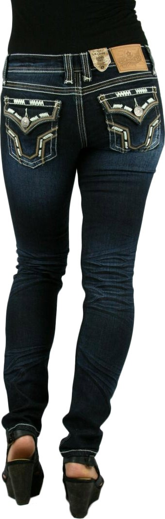LA Idol Western Tribal Thick Stitch Dark Blue Skinny Jeans
