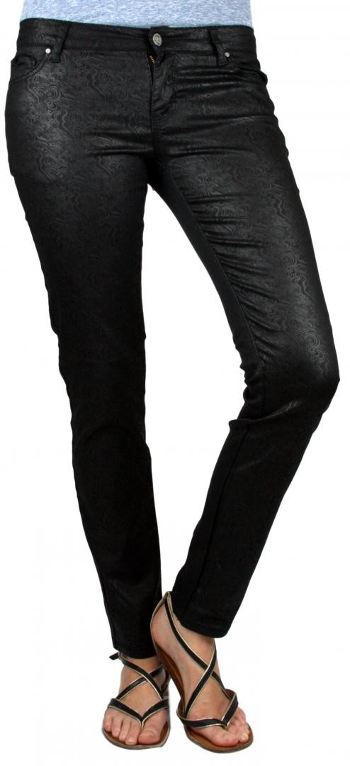 VO Sexy Black Women's Coated Wave Print Skinny Slim Pants Trousers