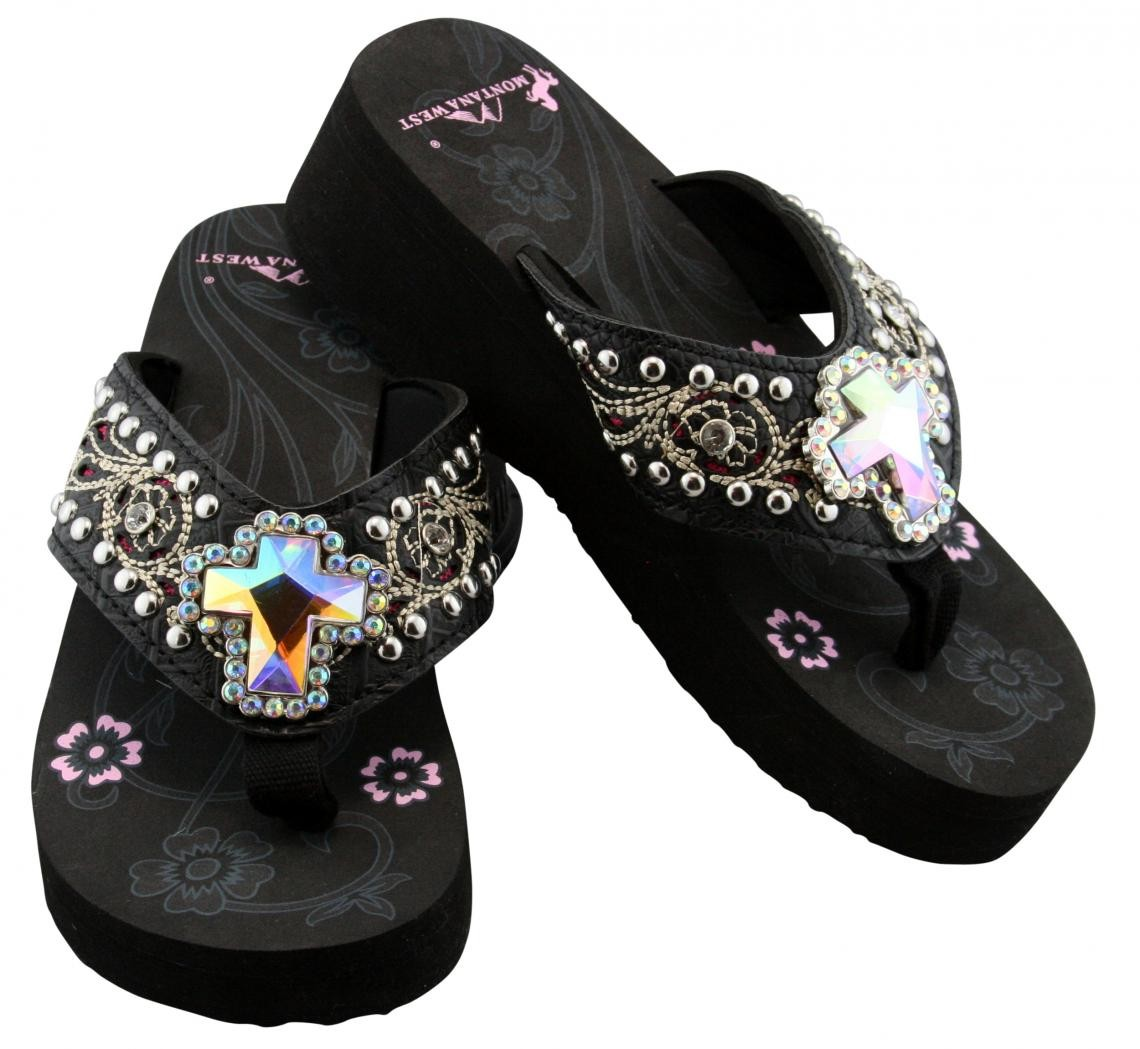 Montana West Women's Rhinestone Pink Synthetic Sandals