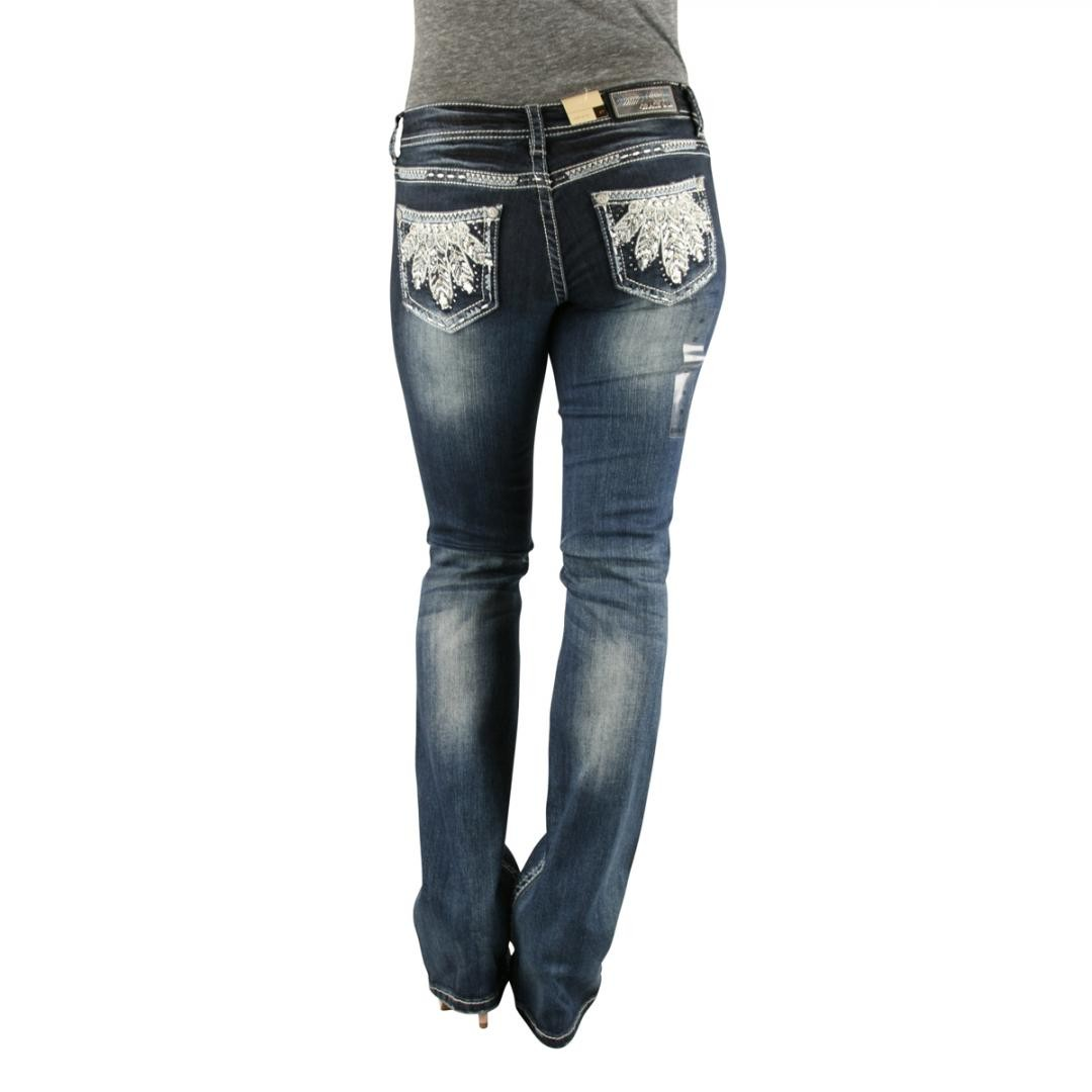 GRACE in LA Idol Feather Plume Dark Wash Boot Cut Denim Jeans