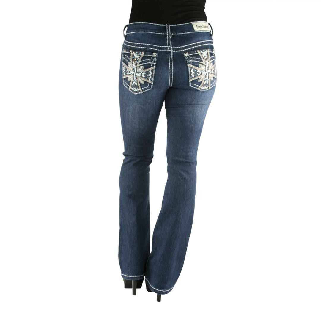 Denim Couture Leather Sequin Cross Dark Blue Bootcut Jeans
