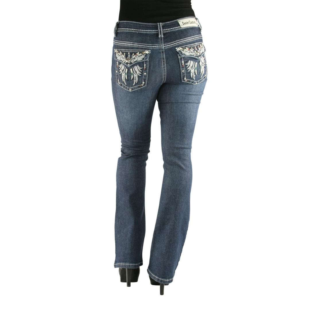 Denim Couture Vibrant Wing Dark Blue Boot Cut Jeans