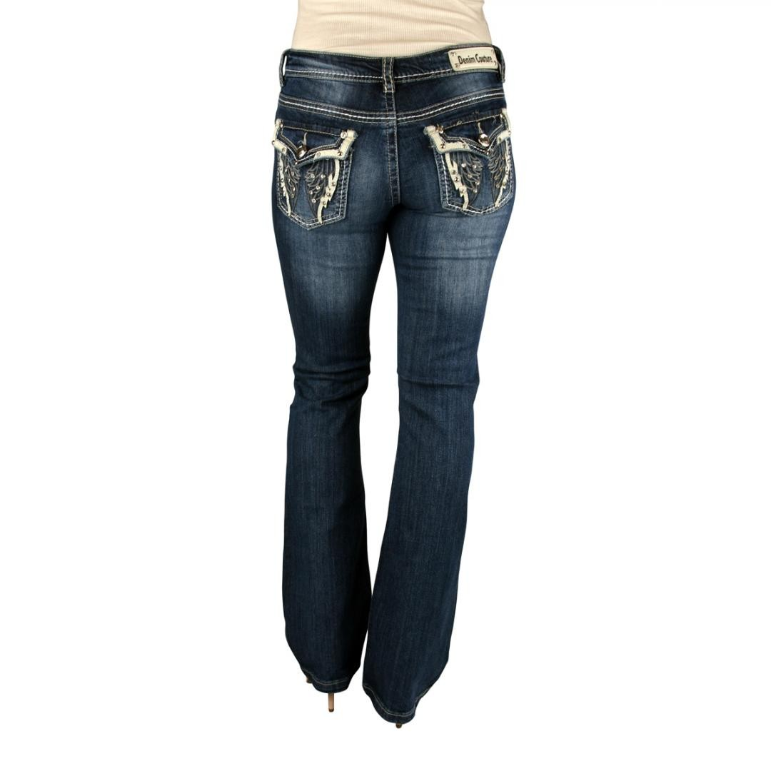 Denim Couture Angel Wings Dark Blue Boot Cut Jeans