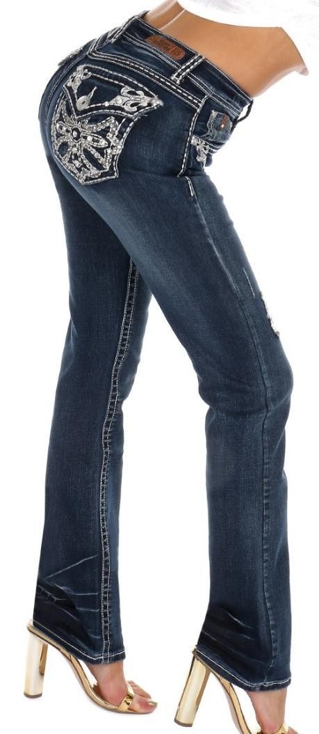 Sexy Couture Women's S476-PB Cross Rhinestone Dark Wash Mid Rise Boot Cut Denim Jeans 3-17