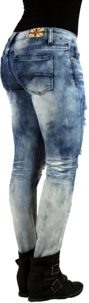 MACHINE JEANS Acid Wash Destroyed Distressed Ripped Ombre Skinny Light Wash Denim Jeans