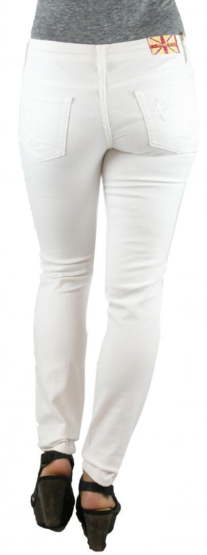 MACHINE JEANS White Destroyed Distressed Skinny Jeans