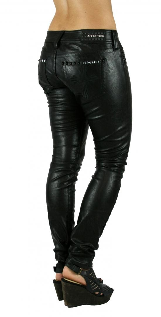 Affliction Raquel Skinny Fit Black Leather Pants