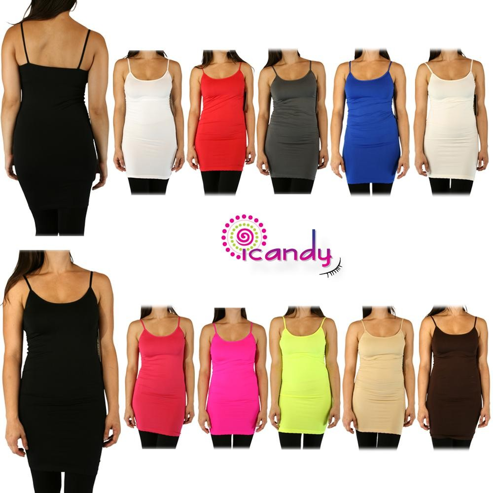 """Extra Long 30"""" Slip Dress SPAGHETTI STRAP TOP Plain Solid Cami Seamless Stretch Layering Basic ONE SIZE"""