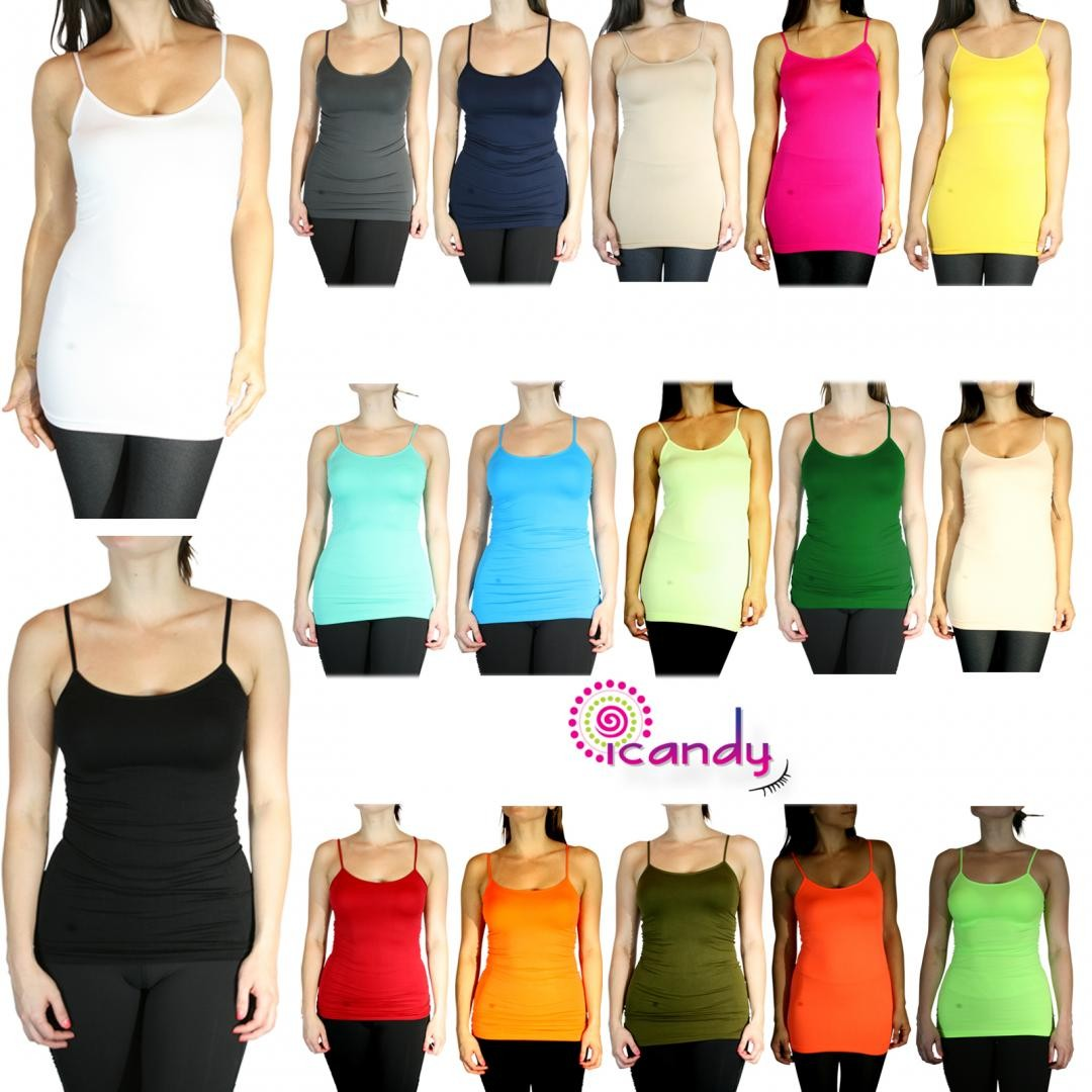 "Long 25"" Cami Seamless Stretch Layering Spaghetti Strap Tank Top Solid Basic Casual"