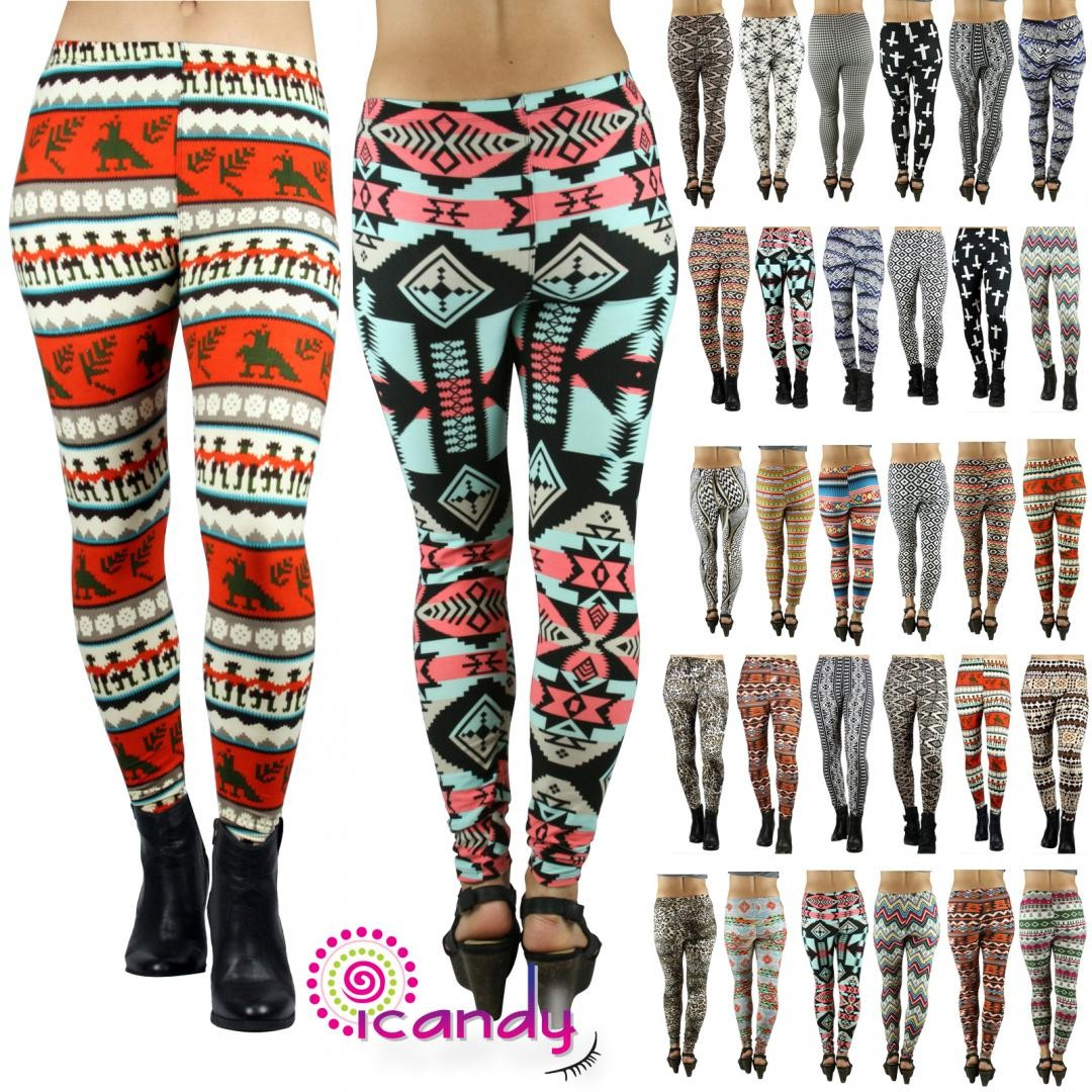 Print Color Skinny Stretchy Soft Print Leggings Pencil Pants- ONE SIZE
