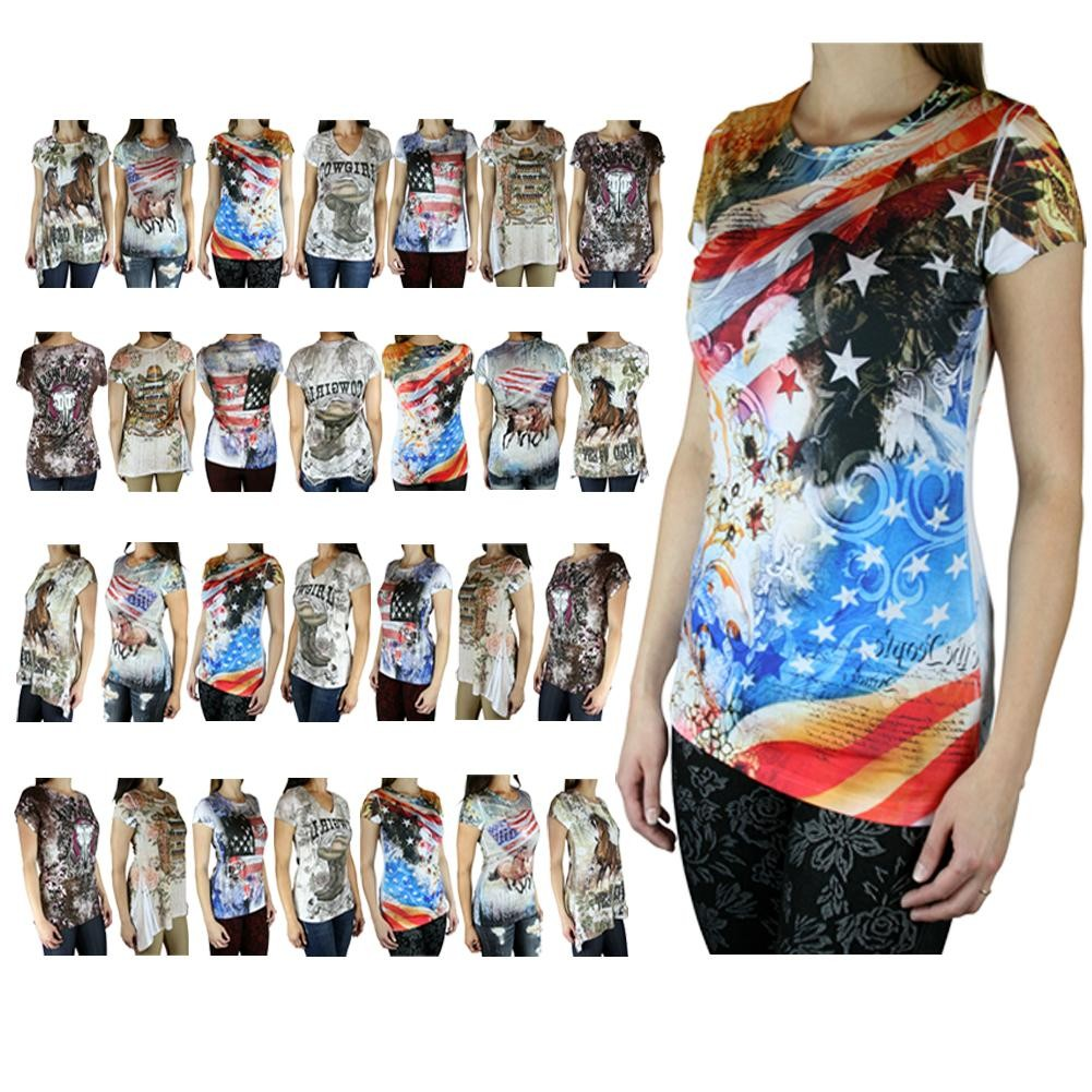 American Cowgirl Soft Western Country Sublimation Fashion T-Shirt Top - Made in USA