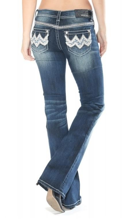 Grace in LA EASY FIT Blue Checkered Wave Boot Cut Denim Jeans 26-34