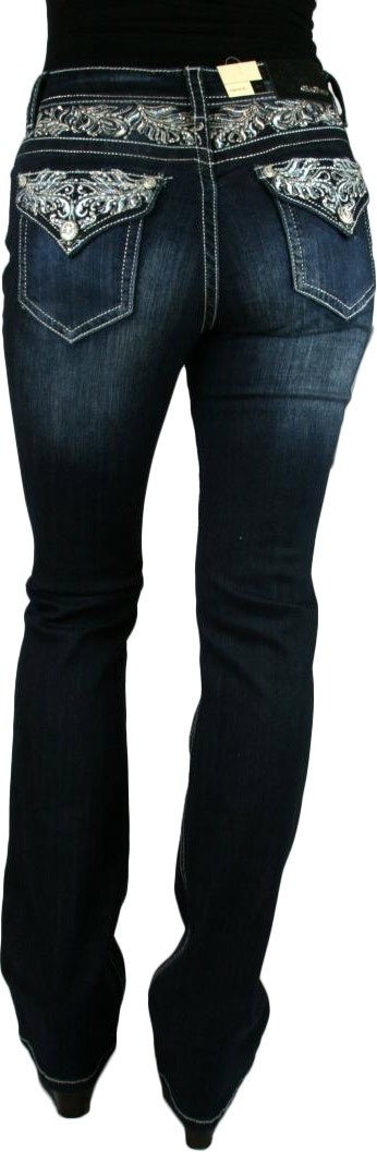 Grace in LA Idol Fern Scroll Yoke Dark Blue Boot Cut Jeans