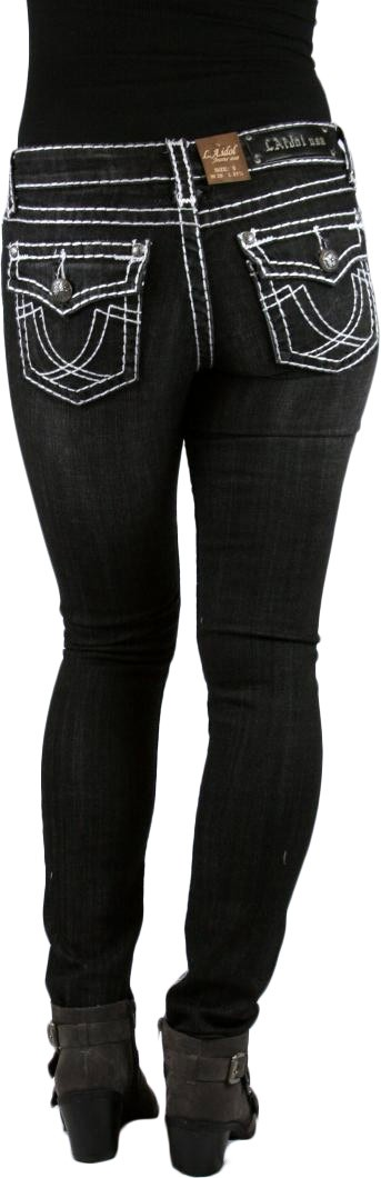 Classic Three Vintage Style Black Stone Washed SKINNY Jeans