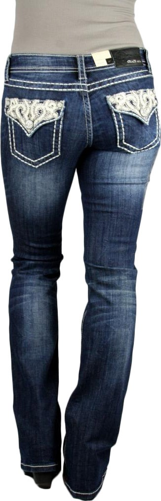 Grace in LA Idol Golden Scroll Flap Pocket Dark Blue Boot Cut Jeans
