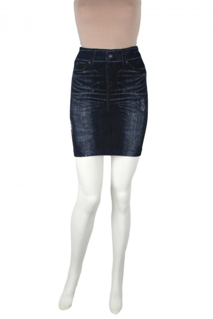 Denim Jean Look Bodycon Slim Stretchy Distressed Ripped Fitted Print Skirt- One Size