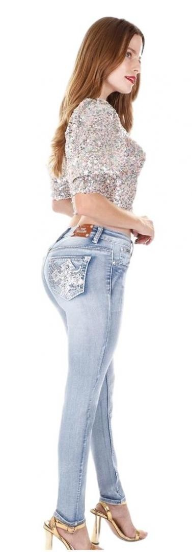 Sexy Couture Women's S644-PS Rhinestone Mid Rise Skinny Light  Wash Denim Jeans 3-17