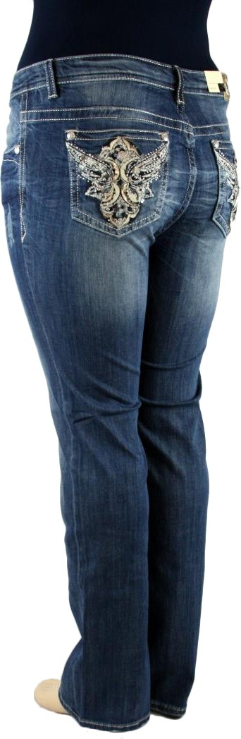 Grace in LA Idol Plus Flying Phoenix Wing Dark Blue Straight Leg Denim Jeans