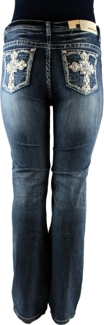 Grace in LA Women's Plus Trefoil Cross Dark Blue Straight Leg Denim Jeans