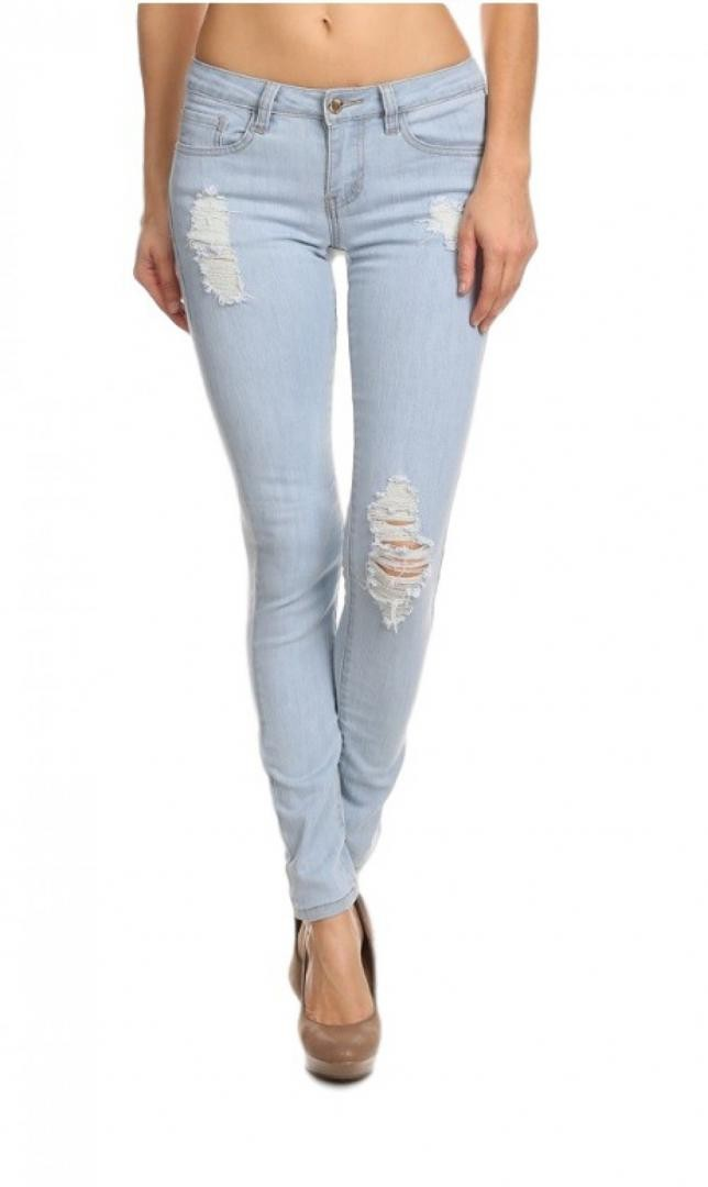 Denim Couture Destroyed Distressed Ripped Skinny Jeans- Light Wash #01Lt