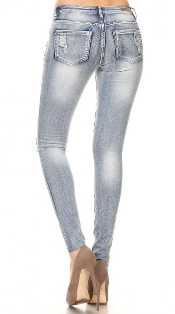 Denim Couture 130 Distressed Ripped Light Denim Wash Skinny Jeans- 0-15