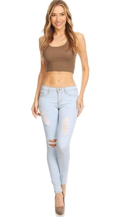 Denim Couture Light Wash 62SL Distressed Ripped Light Denim Wash Skinny Jeans- 0-15