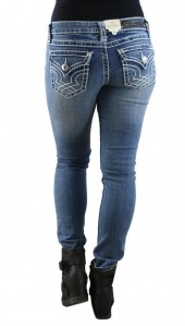 LA Idol Classic Rhinestone Studded Light Blue Denim Skinny Jeans