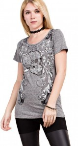 Vocal Women Apparel Top Short Sleeve Shirt Skull Print Rhinestone