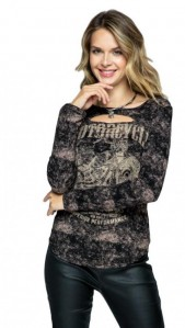 Vocal Women USA Rhinestones Biker Laser Cut Long Sleeve Top S-XL