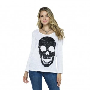 Vocal Women USA Embellished Rhinestone Skull White Long Sleeve Top S-XL