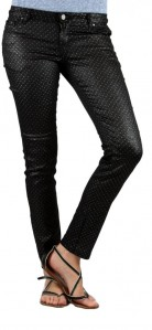VO Sexy Black Shimmer Skinny Slim Pencil Pants Silver Studs Virgin Only