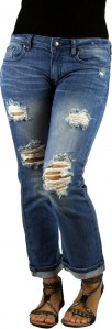 MACHINE JEANS Destroyed Distressed Ripped Cropped Medium Wash Denim Jeans