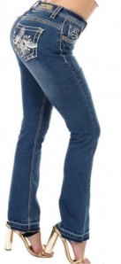 Sexy Couture Women's S445-PB Distress Patch Boot Cut Denim Jeans 3-15