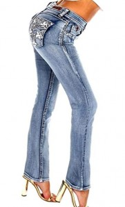 Sexy Couture Women's S477-PB Rhinestone Light Wash Mid Rise Boot Cut Denim Jeans 3-17