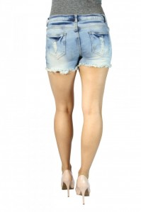 Sexy JZ Butt Shape & Lift Cutoff Light Wash Destroyed Distressed Denim Shorts